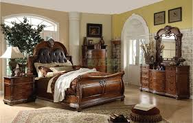Bedroom Furniture Sets King Traditional Sleigh Bedroom Furniture Set With Leather Headboard 106