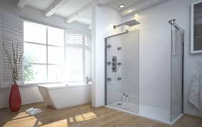 rectangle glass shower areas with steel rain head shower and white