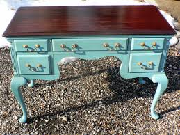 Queen Anne Office Furniture by Vintage Queen Anne Ocean Blue Gray Mahogany French Provencial