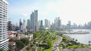 film cinta metropolitan aerial view of balboa avenue and cinta costera boulevard in panama