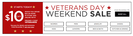 kohl s veteran day sale 10 25 stackable coupon codes and