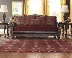 Traditional Fabric Sofas Raul Sofa Traditional Old World Burgundy Living Room Fabric Faux