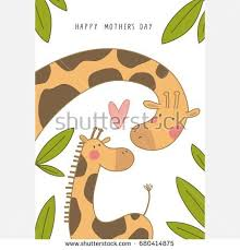 s day giraffe giraffe baby mothers day stock vector 680414875