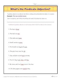 what u0027s the predicate adjective printable parts of speech activity