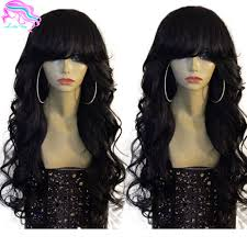body wave hair with bangs glueless body wave full lace wigs malaysian virgin human hair wigs