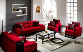 red living room ideas grey metal table lamp chocolate leather sofa