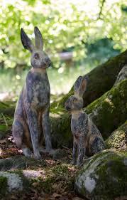 set of 2 vintage march hare garden animal ornament animal