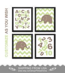Abc Nursery Decor Alphabet Nursery Print Chevron Elephant Safari Boy Nursery Abc 123