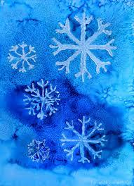 winter watercolor resist art with free printable snowflake