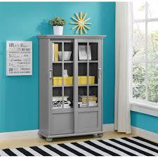 the arron lane glass door bookcase by altra furniture provides an