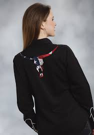 Embroidered American Flag Womens Embroidered Western Shirt American Longhorn