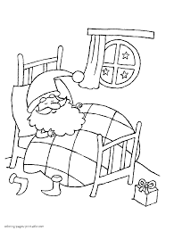 printable christmas coloring pages santa is sleeping