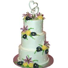 1019 three tier wedding cake with summer flowers and a heart