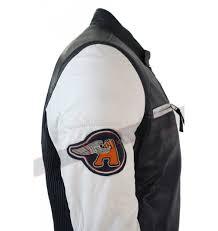 blue motorcycle jacket retro vintage navy blue white leather biker jacket