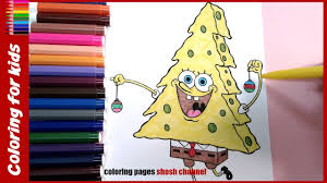 spongebob squarepants look like christmas tree coloring from