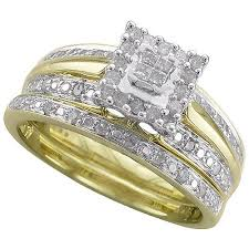yellow gold bridal sets forever 1 3 carat t w diamond 10kt yellow gold bridal set