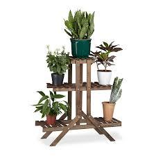 Schreibtisch F B O Relaxdays Blumentreppe 3 Ebenen Aus Holz Blumenständer Für Innen