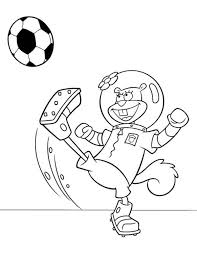 sandy playing football spongebob squarepants coloring page boys