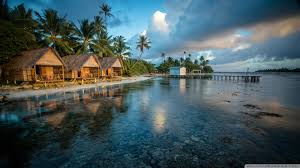 bungalows on the reef of beautiful french polynesia wallpaper