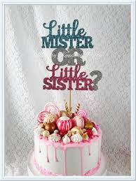 little mister or little sister cake topper baby reveal cake