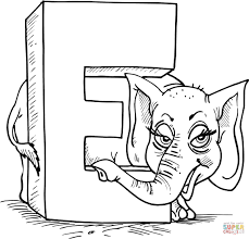 elephant coloring letter preschool printables