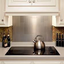 4 pieces peel and stick stainless steel backsplash tiles brushed metal