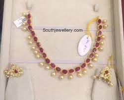 pearl ruby necklace images Light weight ruby south sea pearl necklace jewellery designs jpg