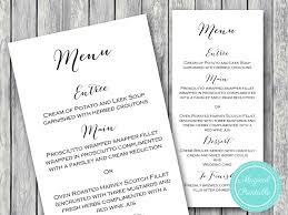 chic wedding menu printable bridal shower menu wedding shower