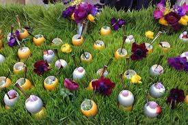 easter egg display wolfgang puck catering has set up its playful easter egg display at