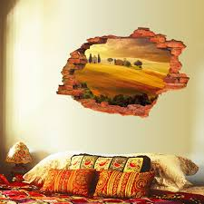 creative home decor 3d fake window wall stickers red maple grove