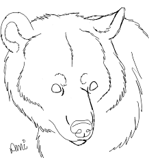 free line art black bear head by cottinfurr on deviantart