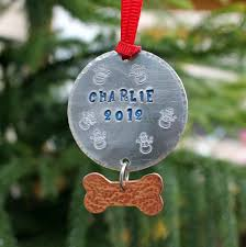 personalized dog christmas ornament unique handstamped aluminum