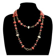 long pearl beaded necklace images Chanel coral bead and pearl necklace with gold hardware luxury jpg