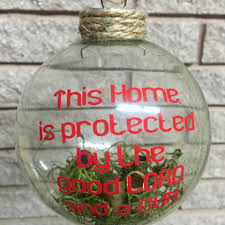 4 in this home is protected shatter proof ornament e