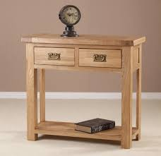 Oak Wood Furniture Small Oak Wood Console Table With Storage And 2 Drawers With Brass