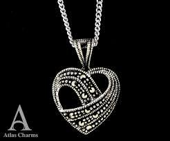 necklace pendants charms images Marcasite heart love 925 sterling silver colour cz stones necklace jpg