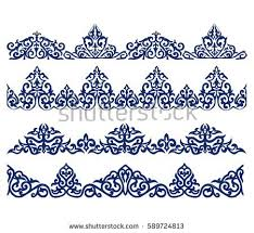 kazakh ornament line stock vector 589724813