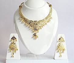 bridal wedding necklace set images Jadau gold wedding jewelry necklace set earrings jpg