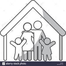 pictogramme chambre la forme de la chambre de famille avec parents et enfants icône sur