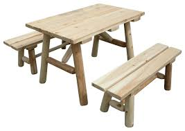 Wooden Picnic Tables With Separate Benches Farmhouse Outdoor Dining Tables Houzz
