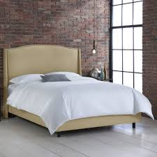 nail button wingback linen upholstered bed hayneedle