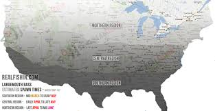 Iowa Usa Map by Bass Fishing Estimated Spawn Times Map For Largemouth Bass