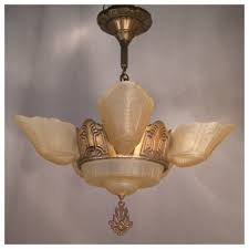 Bronze Chandelier With Shades A3647 Art Deco Bronze Chandelier With Shades Bogart Bremmer