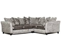 Grey Silver Sofa Modern Crushed Velvet Corner Sofa Grey Silver