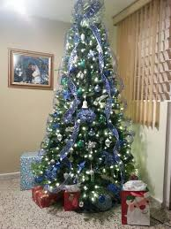 christmas trees decorations with blue ribbons u2013 halloween wizard