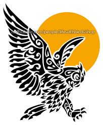 great horned owl tribal tattoo u2014 weasyl