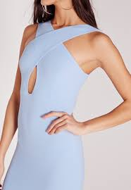 missguided textured cross neck midi dress blue in blue lyst