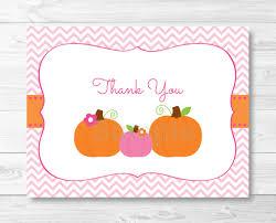 pink pumpkin thank you card template pumpkin baby shower