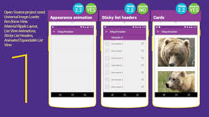 layout template listview material design ui android app template