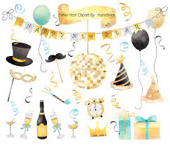 new year items happy new year water color new year clipart instant